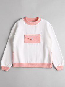 Camiseta De Dos Tonos Con Cremallera Lateral De Bolsillo - Blanco
