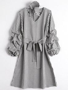 Vestido Acanalado De La Tela Escocesa De La Manga Con El Ahogador - Cuadro