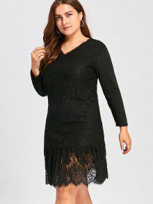 Plus size long sleeve lace dresses