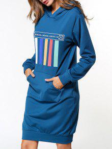 فستان طويل الأكمام هوديي - أزرق M