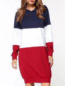 فستان هوديي كتلة اللون - أحمر L