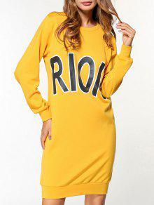 ريويو طباعة اللباس البلوز - الأصفر L