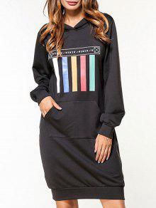 فستان هوديي بجيب مرسوم - أسود L