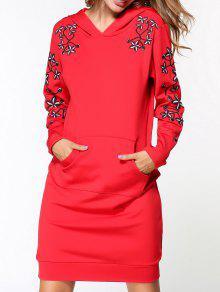 Vestido Con Capucha Bordado - Rojo M