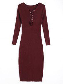 فستان ضيق سويت طويلة الأكمام رباط - نبيذ أحمر