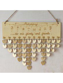 جدول الخشب على شكل القلب طباعة ب Family And Friends Birthdays - قلب