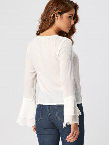ead56f99cafd5b 29% OFF] 2019 Tiered Flare Sleeve Blouse In WHITE | ZAFUL
