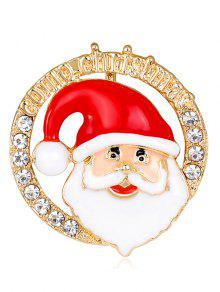 Broche Ronde Portrait Portrait De Père Noël - Rouge