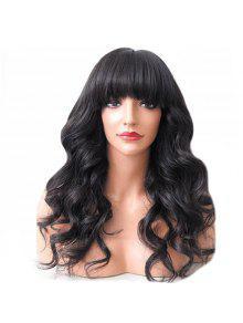 كامل بانغ طويل منفوش متموج باروكة شعر الإنسان - أسود كالفحم # 01