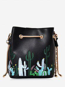 Embroidery Drawstring Chain Crossbody Bag - Black