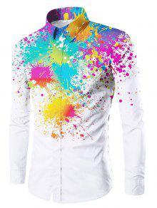 اللون الطلاء رشاش زر يصل قميص - أبيض M