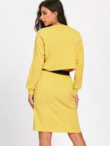 78fac502d44d 28% OFF] 2019 Long Sleeve Jersey Dress In YELLOW | ZAFUL