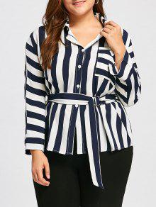 زائد حجم شريط الجبهة جيب قميص مع حزام - الأرجواني الأزرق 4xl