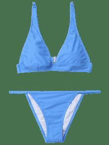 dc719784b6 Plunging Neck Bralette Thong Bikini Set LIGHT BLUE  Bikinis S