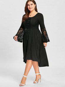 65560483777 35% OFF  2019 Plus Size Lace Panel Lace Up High Low Dress In BLACK ...