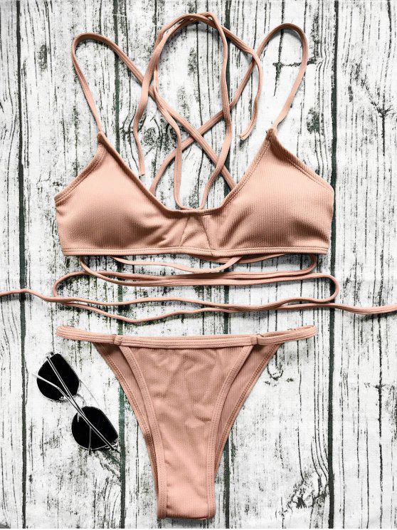 V String Bralette Bikini Set - Ziegelrot L