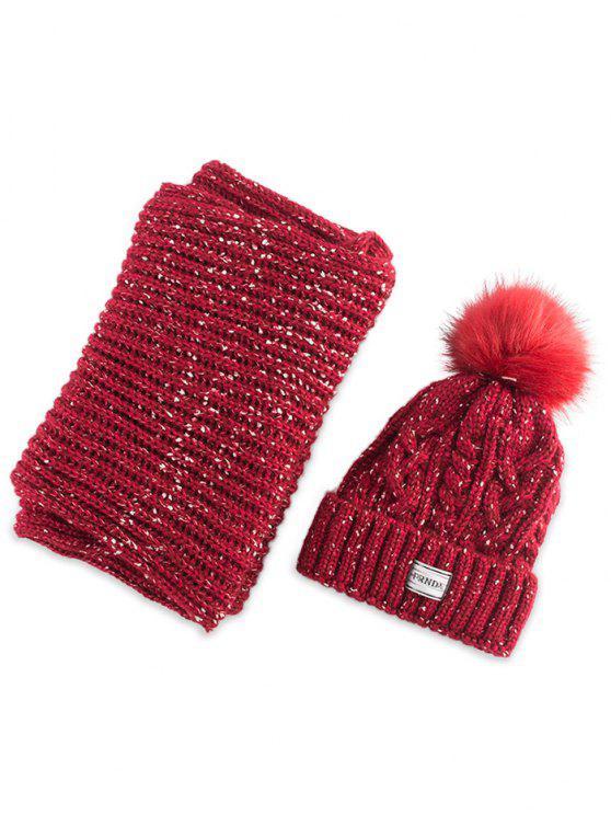 Hemp flor de punto de Pom sombrero y bufanda - Rojo