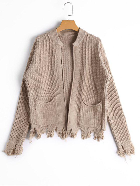outfit Pockets Distressed Open Front Cardigan - KHAKI ONE SIZE
