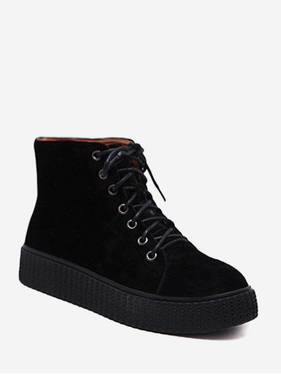 Tie Up Faux Suede Ankle Boots - Preto 39