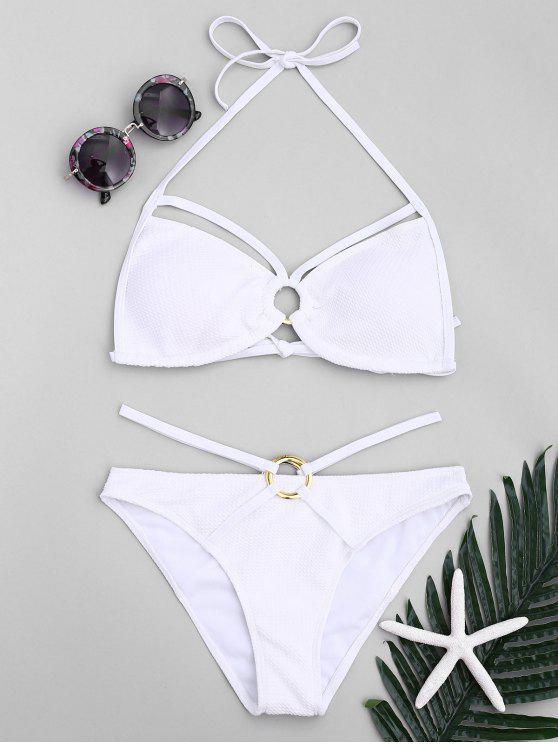 Ringe Strappy Halter Bikini Set - Weiß M