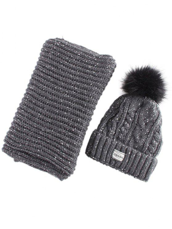 shop Hemp Flower Knit Pom Hat and Scarf - BLACK GREY