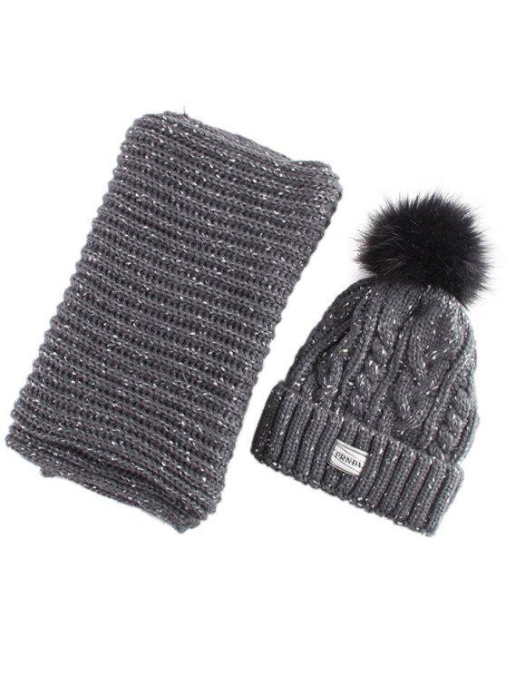 Hanf-Blumen-Strick-Pom-Hut und Schal - schwarz grau