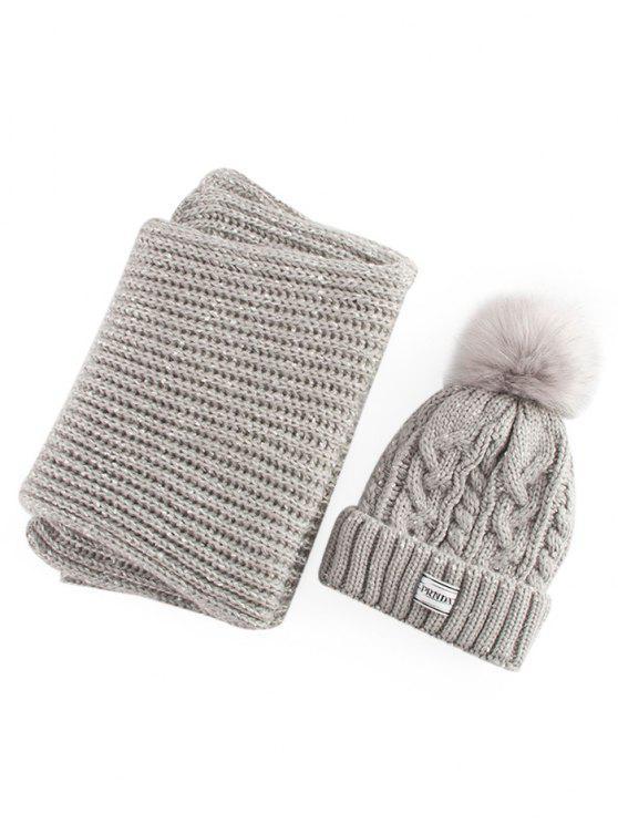 Chapéu e lenço de algodão de manga de cânhamo - Cinzento