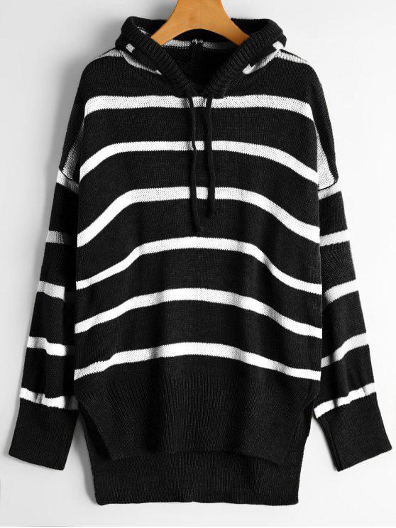 a006b4a1bbc 41% OFF  2019 Oversized High Low Stripes Hooded Sweater In BLACK ...