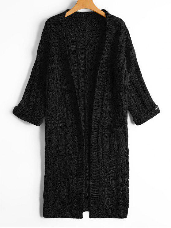 Cardigan anteriore aperto a maglia a maglia con tasche - Nero Una Taglia