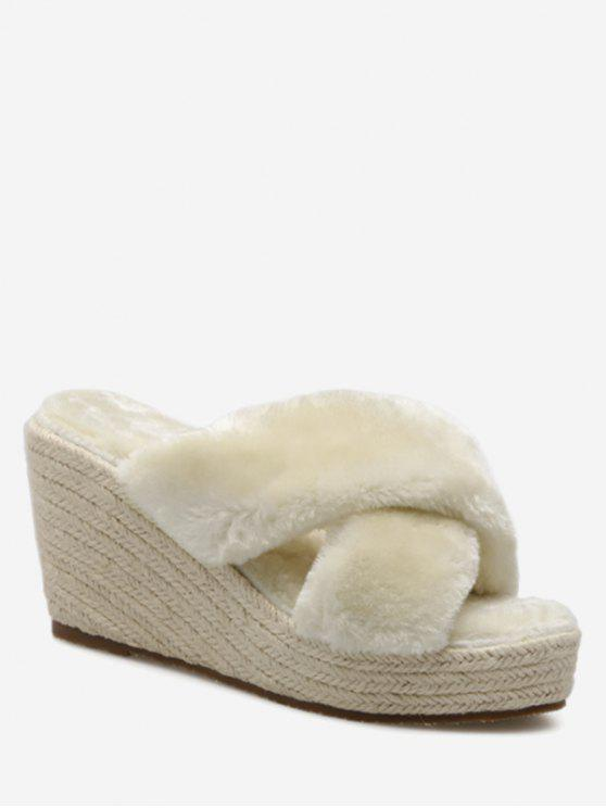 chic Faux Fur Criss Cross Wedge Heel Slippers - APRICOT 38