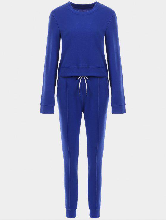 Sportlich geerntetes Sweatshirt mit Joggerhose - Blau L