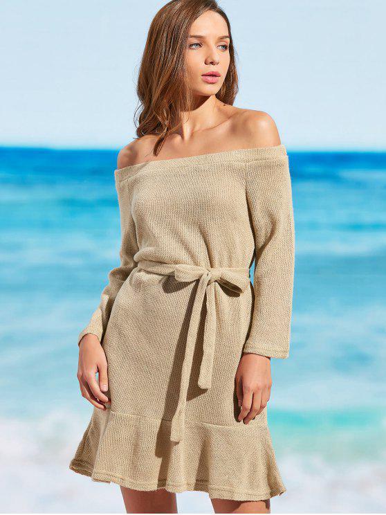 Gestricktes Schulterfreies Kleid mit Gürtel - Khaki S