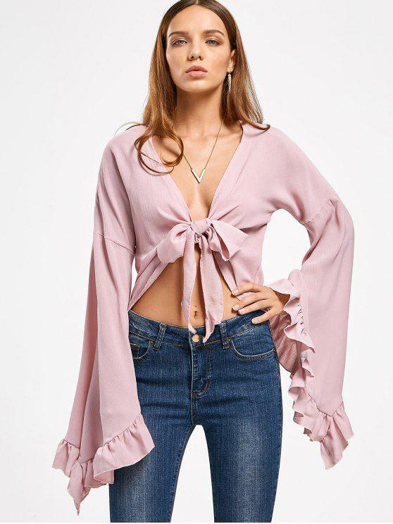 shop Frilled Front Knot Cover-up Top - PINKISH PURPLE M
