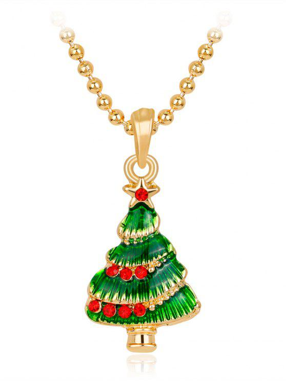 women's Star Faux Crystals Christmas Tree Necklace - GREEN