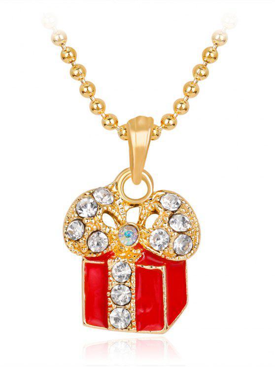 Caja de regalo colgante de Navidad encantos del tema collar - Rojo