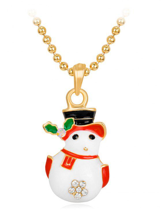 buy Enamel Christmas Snowman Pendant Necklace - WHITE