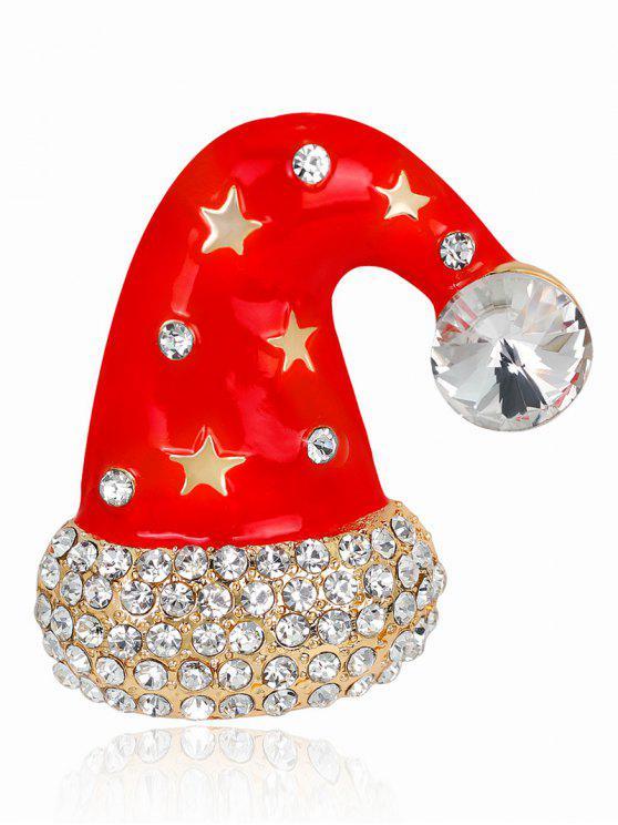 lady Christmas Cap Diamante Rhinestone Star Brooch - RED
