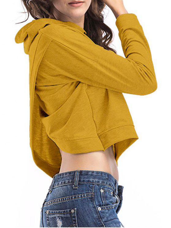 women's Loose Casual Crossed Back Hoodie - YELLOW XL