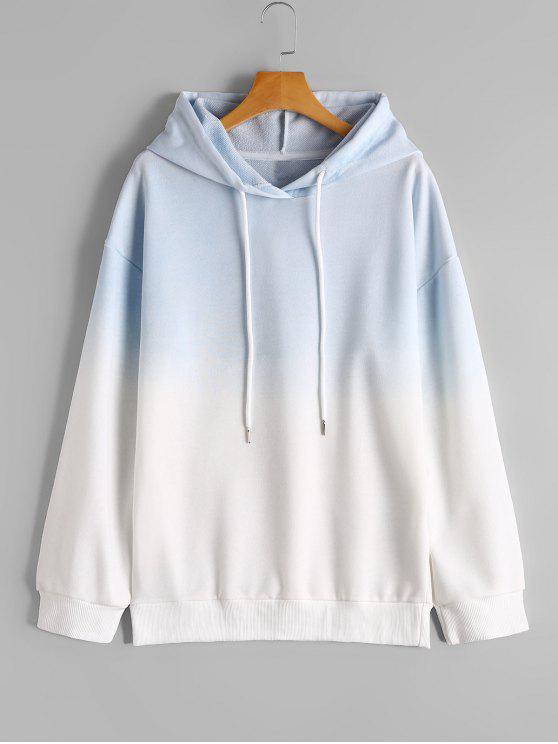 Felpa con cappuccio Ombre Casual - Blu e Bianco L