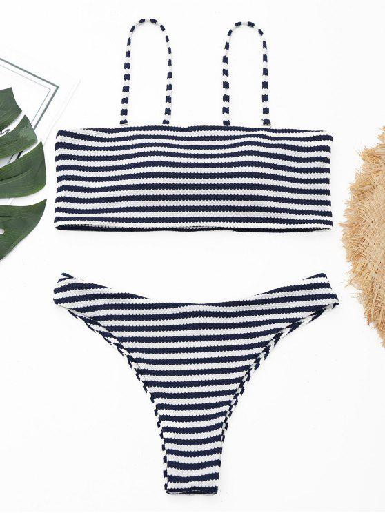 Texturierte gestreifte Tanga Bikini Set - Streifen  L