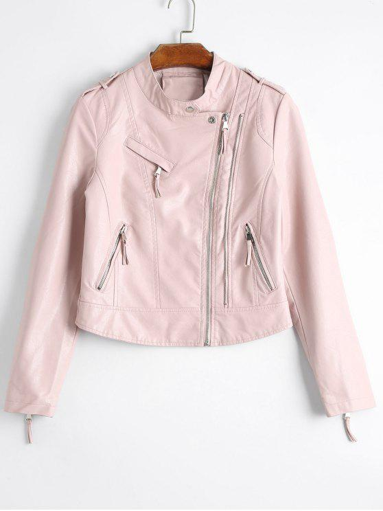 c46a16663 Plain Asymmetric Zipped Faux Leather Jacket