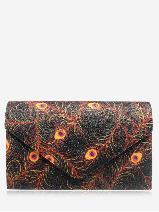 women's Envelope Print Sparkle Clutch Bag - BLACK