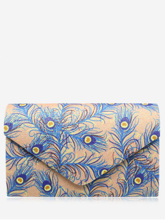 best Envelope Print Sparkle Clutch Bag - APRICOT
