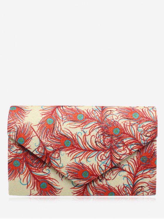 new Envelope Print Sparkle Clutch Bag - RED