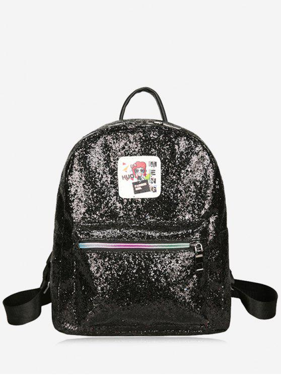 latest Zipper Glitter Backpack - BLACK