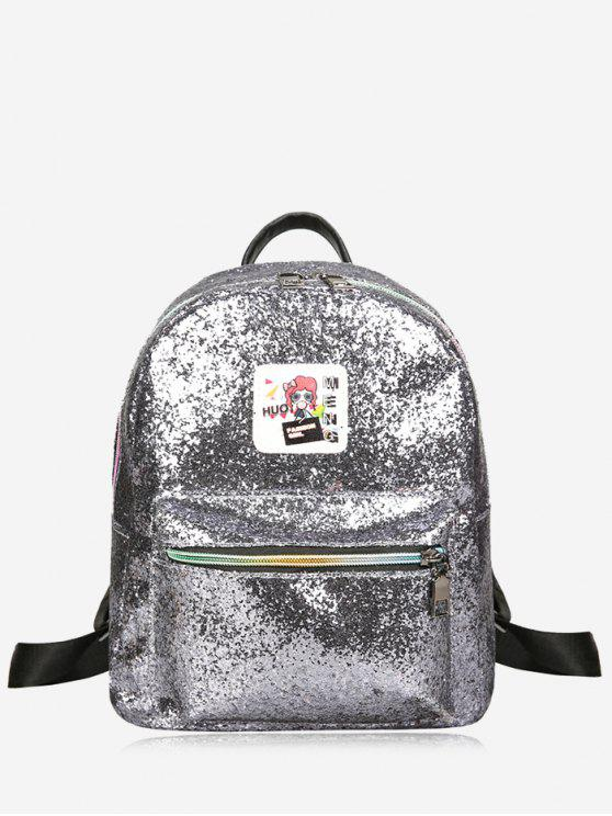 Glänzender Rucksack mit Reißverschluss - silber