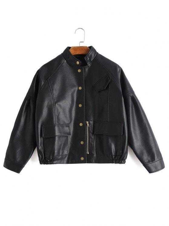 Veste à Boutons en Faux Cuir avec Poches - Noir XL