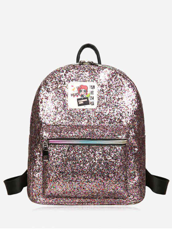 chic Zipper Glitter Backpack - COLORFUL