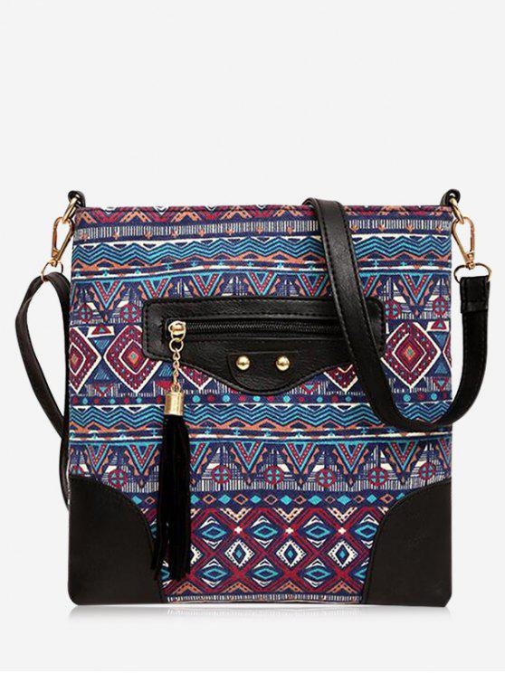 Tassel Tribal Print Crossbody Bag - Rouge