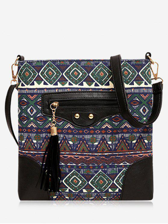 Tassel Tribal Print Crossbody Bag - Vert